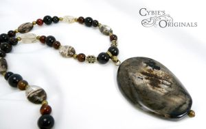 Silver leaf jasper and agate necklace by cybelemoon
