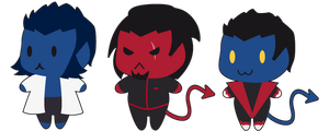 X-men Chibis Hank Azazel Kurt by Pandablubb