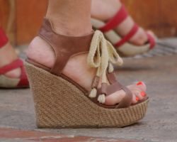 Brown Leather Strapped Wedge with Shoelace by Feetatjoes