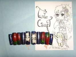 Kawaii Halloween false nails by MesiaszCiszy