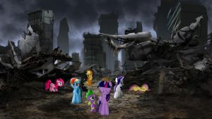 Mane 6 And Spike Among The Ruins by Macgrubor