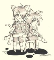 Neko Twins - Cookies and Milk by Hellatina