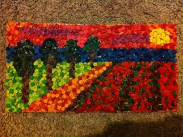 Crayon Mosaic/Collage Scene by MarisaSarina