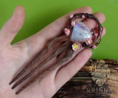 Plum blossom polymer clay hair pin with moonstone by Krinna