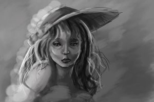 Woman in hat by StitchParadox