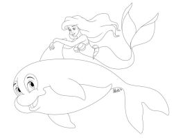 Ariel and Spot - Lineart by madam-marla