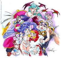 Darkstalkers girls - colored by witch-hecate