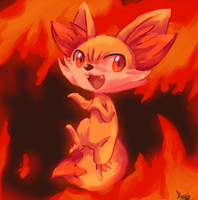 A fennec fox it's on fire by MamaRocket