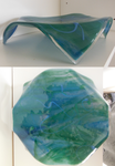Green and blue glass plate with legs by Akitainu96