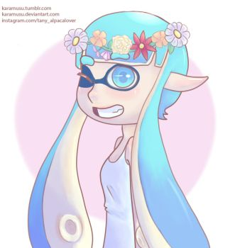 Inkling with a flower crown by Karamusu
