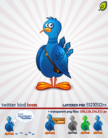 Twitter Bird Icon Free PSD by pixtea