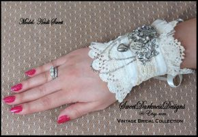Steampunk Bridal Cuff Wrist Corset Ivory Lace Leat by SweetDarknessDesigns