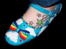 Rainbow Rain Mary Janes by rainbowdreamfactory