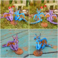 Lilac and Blueberry the Polymer Clay Dragons by vivalahill
