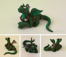 Green Steampunk Dragon by LitefootsLilBestiary