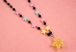 Black and Pastel Star Necklace by PeppermintPuff