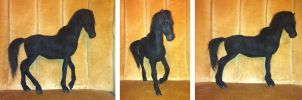 Black Horse Posable Plush Art Doll by SabrePanther