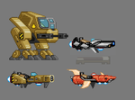 Human and Hylothl Hoverbike sprite by Erlioniel
