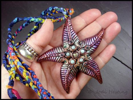 Clay and Gemstone Pendant - Star of the Sea by andromeda