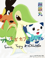 Snivy, Tepig and Oshawott by Chotetsumaru