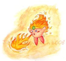 Fire Kirby - Water Colored by JessySketches