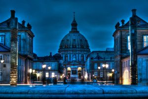 Amelienborg Castle and The Marble Church by MartinSar