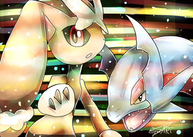 Mega Lopunny and Salamance by LizardonEievui13