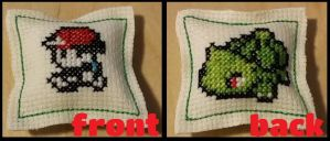 Ash and Bulbasaur Hand-made Mini Pillow by thestitchingvogue