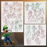 Lots of Marios Doodles by RatchetMario