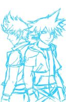 SoraXRoxas WIP by dreamwatcher7