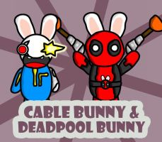 Cable Bunny and Deadpool Bunny by GMLink