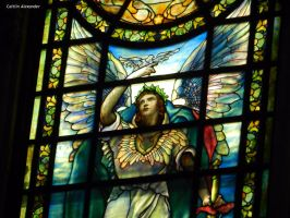 stained glass angel-close up by Apeanutbutterfiend