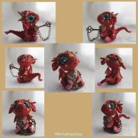 Valentine Dragon with heart lock and key by BittyBiteyOnes