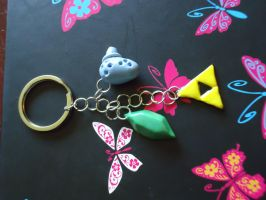 Link Key Chain - Rupee, Ocarina and Triforce by Queen-Of-Cute