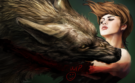 Wolf and Girl WIP2 by Hallowing