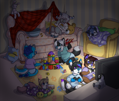 cub sleepover! {finished ych} by bearnapping
