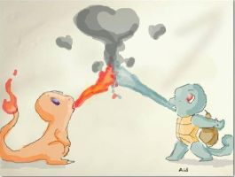 Squirtle x Charmander by AidArmadillo
