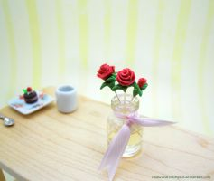 Vase Of Red Roses by SmallCreationsByMel