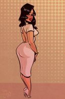 White Dress - Cartoon PinUp by HugoTendaz
