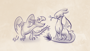 Toothless, Stormfly, and Twig by Miggimira