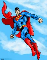Superman flying by Chazzwin