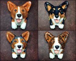 Corgi Pop-Out Magnets by LeiliaClay