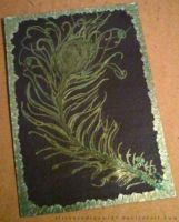 ACEO - Gold Peacock Feather by strryeyedreamr27