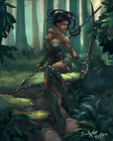 Huntress in the Forest by kiiroikimono