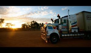 Road Train Sunset, Australia by Thrill-Seeker