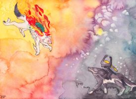 Amaterasu and Link by Jhann