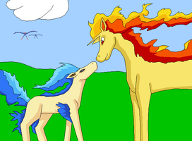 Ponyta and Rapidash -Colored- by VirusMetalGarurumon