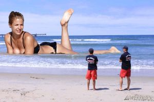 Giantess Gemma Atkinson and lifeguards by lowerrider