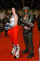 Chell and Master Chief by ArcaneArchery