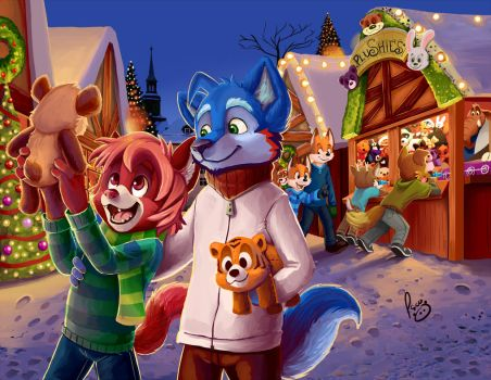 Christmas market by pandapaco
